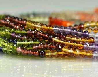 Multi Gemstone Rondelles AAA Gemstone Beads Citrine Garnet Amethyst Crystal Carnelian 3.5-4 Half Strand