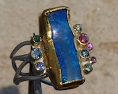 Silver and fine gold ring, 1 boulderopal, prescious stones: IMPORTANT, French vat is included,off 20% for US and canadian buyers