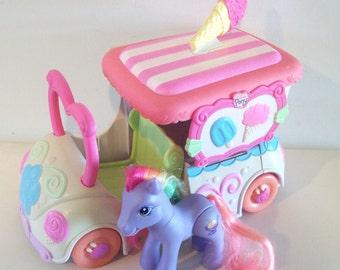 G3 My Little Pony Ice Cream Truck with Rainbow Swirl - works! Hasbro MLP