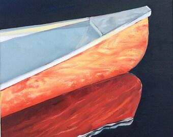 """Morning Light. Canoe. original oil painting. Red Canoe. Reflection. Red boat. Original painting. Yvonne Wagner. 12 x 12 x 3/4"""" (30 x 30cm)"""