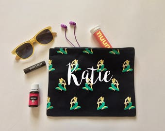 FREE SHIPPING Personalized name Yoga makeup bag | Gym pouch | Gift for her | Purse | Clutch | zippered bag | Happy Yogi | Namaste | gym bag