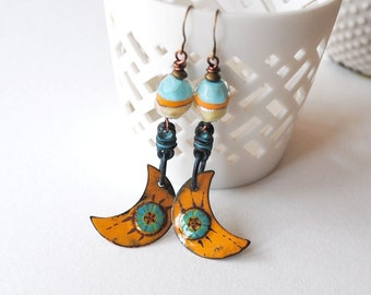 Yellow Crescent Earrings, Crescent Moon Earrings, Boho Gypsy Earrings, Artisan Enamel Earrings, Earthy Earrings, Copper Emanel Earrings,