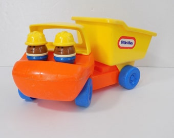 Vintage Little Tikes Dump Truck and 2 African American Construction Worker  Toddle Tots