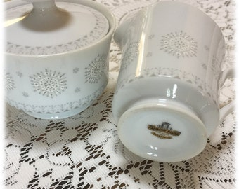 Retro, Vintage Harmony House Snowflake China CREAM & SUGAR SET,  Atomic Era, Christmas, Winter