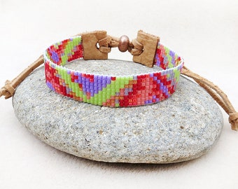 Beaded Loom Bracelet, Cuff, Leather, Adjustable, Boho, Green, Purple, Red, Pink, Friendship, Handmade, Jewelry, Gift for Her, Gift for Teen