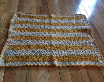 Gold and Tan Infant Blanket/Afghan - Hand Croceht
