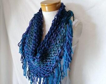 Blue triangle scarf Chunky knit Matching fringe Purple teal peacock neckwarmer Bib wrap Boho fashion accessory Christmas Gift for her