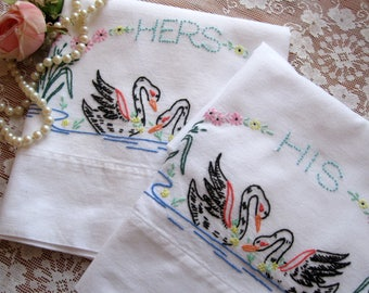 Embroidered Pillowcase Set with Swans,  Personalized Embroidered Pillow Cases, Bedding, Shabby Cottage, by mailordervintage on etsy