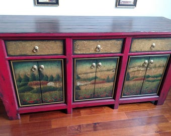 Chinese Inspired Sideboard Buffet Cabinet Dining Room Storage; Sideboard, Buffett, Storage, Heirloom Quality