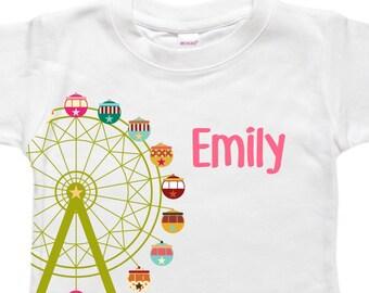 Personalized Baby Bodysuit - Toddler Shirt - Baby Shower Birthday Gift - Ferris Wheel Carnival Fair