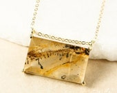 EASTER SALE Gold Yellow & Clear Dendritic Quartz Necklace - Rectangular Pendant - Dendrite Quartz Necklace