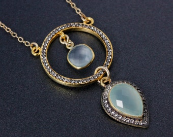 Aqua Chalcedony Teardrop Glamour Necklace - Statement Necklace - Pave Topaz 2 Hoop