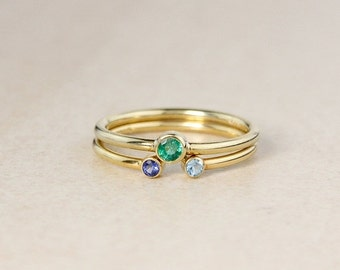 CHRISTMAS SALE Set of 2 - Birthstone Rings – Green Emerald, Sapphire, Choose Your Birthstone