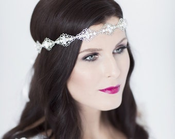 Wedding headband / bridal headband / bridal headpiece / wedding forehead band / wedding headpiece / bridal hair vine / OCTAVIA