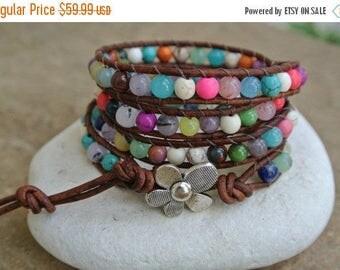 25% OFF SALE Flower Garden Gemstone Beaded Leather Wrap Bracelet
