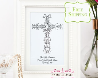 Personalized First Communion Cross | Name Cross art Print | First Communion gift girls | First Communion gift boys | FREE SHIPPING