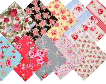 """Quilt Cotton Fabric 40 Charm Pack 5x5"""" Squares Vintage Retro English Floral Rose in Multi-Colored"""