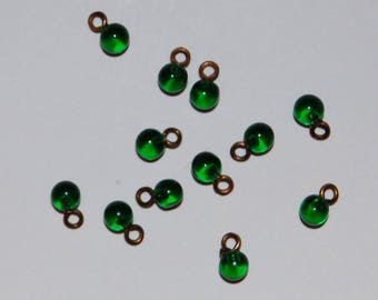 Vintage Tiny Glass Marble Buttons Pendants • 3mm • Red, Green