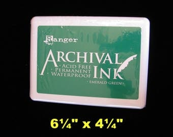 Jumbo #3  Ranger Archival Ink Pad, Archival Emerald Green, Giant Ink Pad, Acid Free, Permanent Ink, Waterproof Ink, Paper Crafters Supply