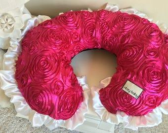 Hot Pink Roses Nursing Pillow Cover, Black Boppy Cover, White Boppy Cover, Baby Girl Nursing Pillow Cover, Pink Boppy Cover