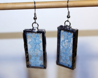 Pair of Vintage Flower Light Blue Lace Earrings, Soldered Lace Earrings, Blue Lace Jewelry, Unique Lace Earrings, Boho Lace Earrings