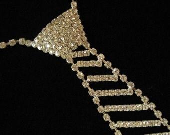 1980's Rhinestone Tie Necklace, Clear Rhinestones