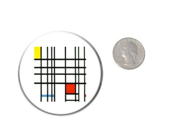 Mondrian Art Refrigerator Magnet  2 1/4 inches in diameter  Fridge Magnet