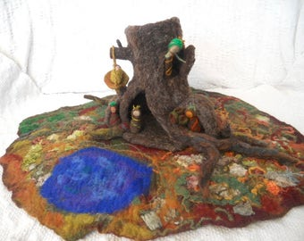 Play mat, Waldorf,Root children, Pre School, Play scape,hand felted play mat, Root family, Root Mother, Giant Tree House,  Nursery School
