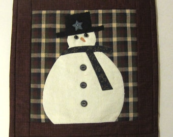 Snowman Winter or Christmas Quilted Mug Rug Snack Mat or Mini Wall Quilt 11 1/2 x 12 inches