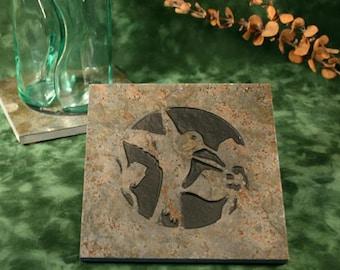 Natural Stone Trivet / Hot Plate - Hummingbird on Copper Slate