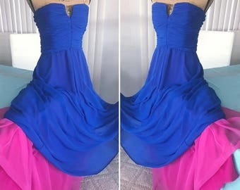 Beautiful Vintage Victor Costa Designer Gown in Jewel Tone Blue and Pink -- Size S-M