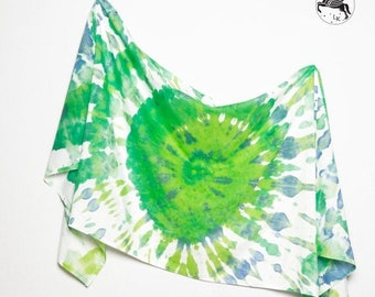 ON SALE 15 OFF Unique Hand Painted Tie Dye Silk Cotton Summer Sarong Green Yellow Blue White Colours  Scarf Wrap  Colorfull Beach Holidays