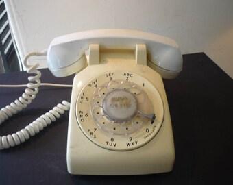 Yellow Rotary Desk Phone - 1960s GE  - Model 500 cream color retro desk accessory - prop - works needs new adaptor plug