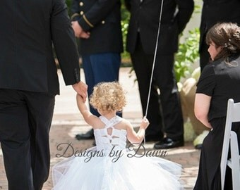 White Flower Girl dress. Lace Mini Bride Dress with train! More colors available. Size 6m-12 Girls