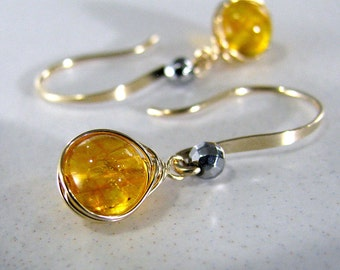 Citrine Earrings, Gold Earrings, Yellow Orange Earrings, Gemstone Earrings, November Birthstone Earrings, Wire Wrap Earrings - Honey Drops