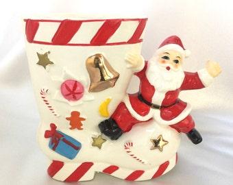 Vintage Royal Sealy Japan ceramic Santa boot planter//vase
