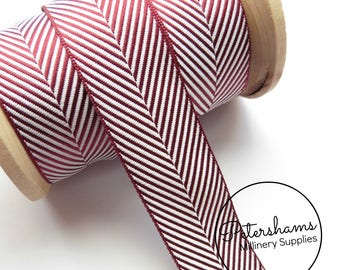 25mm Berisfords Herringbone Ribbon for Hat Trimming & Crafts 1m (1.09 yards) - Burgundy Herringbone