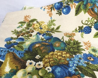 Vintage Blue and Green Floral Fruit Barkcloth 1 Yard