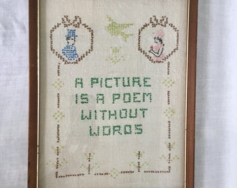 Vintage Framed Cross Stitch Sampler A Picture is Poem without Words