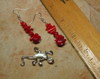 Natural AAA Grade Red Coral, 925 Silver Earrings