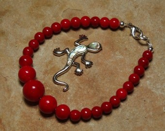 Natural AAA Red Coral Graduated 925 Silver Bracelet