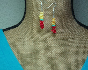 Red Coral,Yellow Coral, Blue Turquoise, 925 Silver Earrings