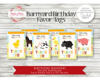 Barnyard Favor Tags - Farm Birthday Favors - Farm Animal Birthday - INSTANT DOWNLOAD - Barnyard Party Supplies - Digital File