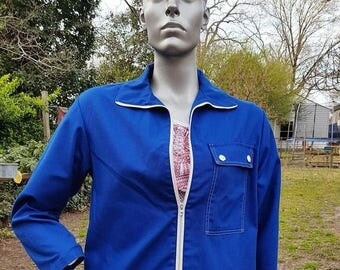 SALE 30% OFF Womens 70s Jacket in Blue by White Stag, Sailing Jacket, Nautical Jacket, Vintage Jacket, 70s Costume Size 12
