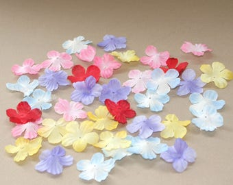 125 Bitsy Blossoms in Lavender, Blue, Red, Yellow, Pink - Silk Flower Blossoms, Artificial Flowers