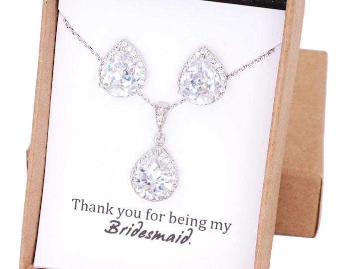 Jarita - Wedding Bridesmaid Gift Bridal Earrings Bridesmaid Jewelry Clear White luxe Cubic Zirconia Teardrop Ear Studs