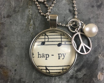Sheet Music Pendant - Happy
