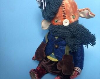 Xmas SALE 10 inch Artist Handmade Plush Fifer Pig by Sasha Pokrass