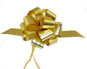 6 Metallic Gold Stars Pull Bows Christmas Gift Wrap Decorations