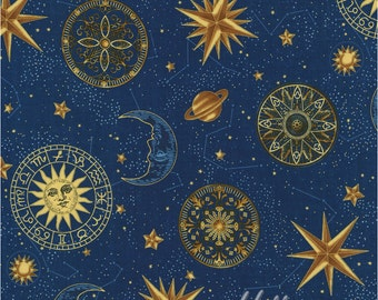 Celestial decor etsy for Celestial fabric by the yard